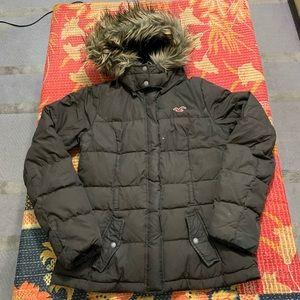 Hollister Puffer Coat Hood Brown Medium